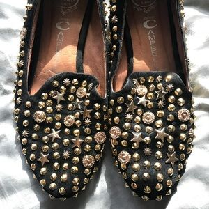 Jeffrey Campbell gold embellished loafers